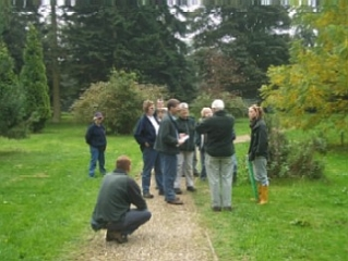 Volunteers take a guided tour of Lynford Arboretum