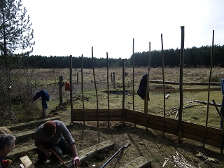 FoTF Conservation Group at Work at the Goshawk Trail constructing a second bird hide screen (March 2010)